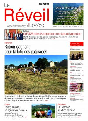 La couverture du journal Le R�veil Loz�re n°1377 | septembre 2016